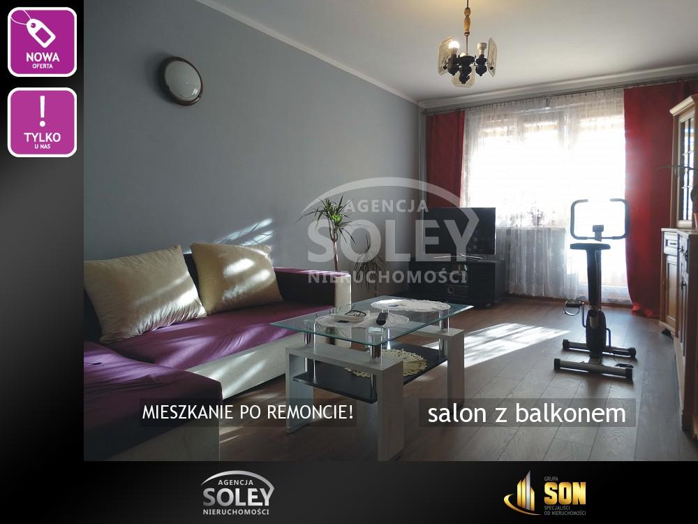 Nieruchomości: salon z balkonem