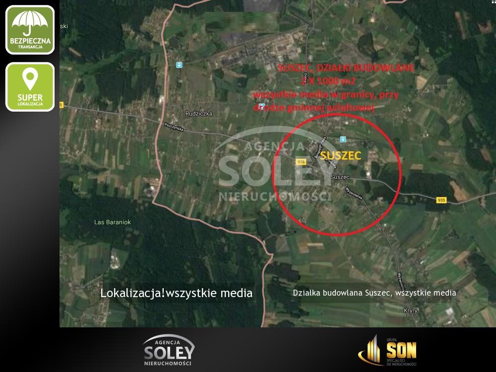 Nieruchomości: dwie działki budowlane Suszec, wszystkie media